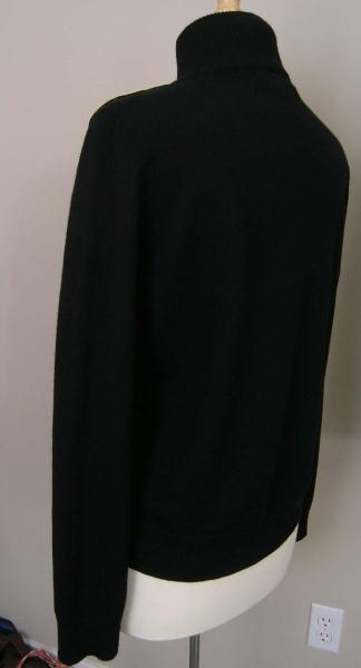Ralph Lauren Zippered Sweater Jacket Black Wool Large